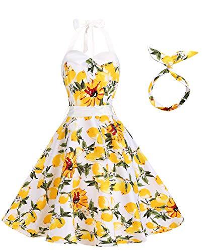 (BI.TENCON Women Vintage 1950s Lemon Floral Printed Halter Top Summer Casual Cocktail Swing Dress Yellow S)