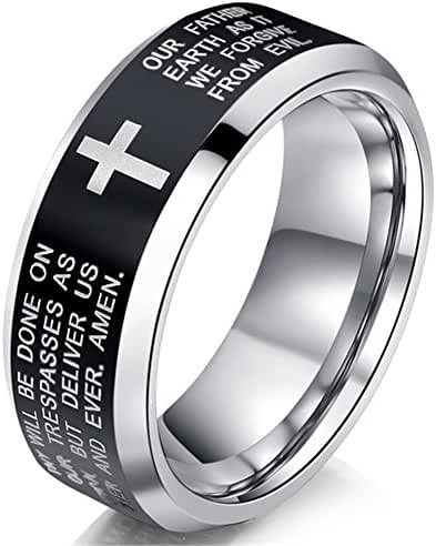 Womens 6mm Tungsten Carbide Black Ring Engraved English Bible Lords Prayer Cross White Band Ring For Her