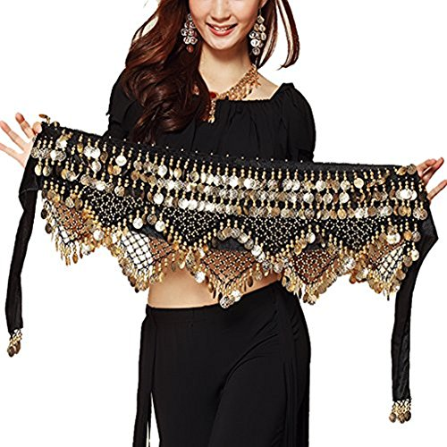Gold Coins Belt Zumba Belly Dance Costume Hip Scarf Festival Clubbing Sash Skirt Wrap (Black, One Size)