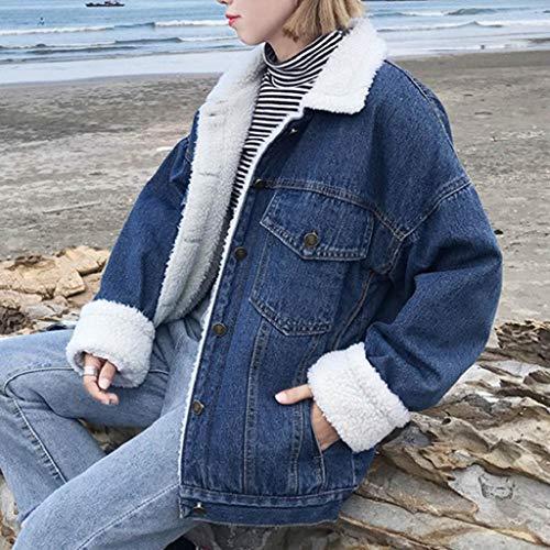 In Cappotto Casual Jeans Corta Outwear Marina Pelliccia Down Donna Finta Caldo ❤ Donna Retrò Colletto Vicgrey Giacca qpnvxE6ZWP