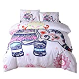 Rose Auroma Bohemian Elephant Mandala Pattern Bedding Set 3 Piece - 1 Duvet Cover and 2 Pillow Shams - Soft, Wrinkle and Stain Resistant (Full, Pink)