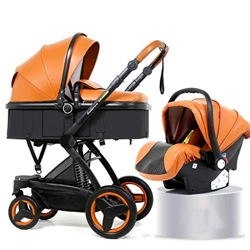 XYSQ Lightwight Carriage 2-in-1, Foldable Light and Easy to Carry, Sitting and Lying Lightwight Pram, Suitable for Traveling Newborn Pushchair (Color : Orange)