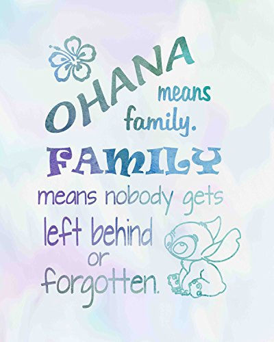 Ohana Means Family - Inspired by Lilo and Stitch - Watercolored Poster Print Photo