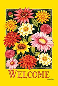 Decorative Flag for Garden Yellow Welcome Bouquet Welcome Holiday Garden Flag 2-Sides Outdoor Yard Flags
