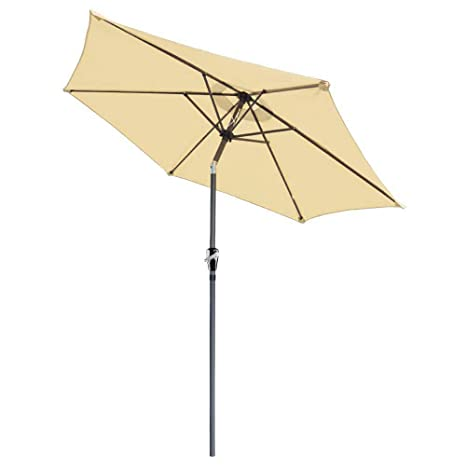 8 Ft Sunshade Aluminum Outdoor Patio Umbrella Crank Tilt 8u0027 Tan Market  Beach Garden
