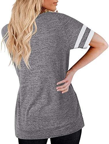 MaQiYa Womens V Neck Basic Tops Color Block Tunic T Shirts Summer Short Sleeve Casual Cotton Tees Shirts