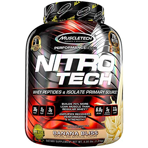 (MuscleTech NitroTech Protein Powder Plus Muscle Builder, 100% Whey Protein with Whey Isolate, Banana Bliss, 40 Servings (4lbs))