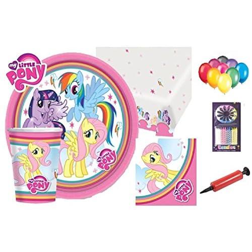 My Little Pony Party Supplies Fête d'anniversaire Décorations de table 16 assiettes pour invités, tasses, serviettes de table, nappes, ballons gratuits