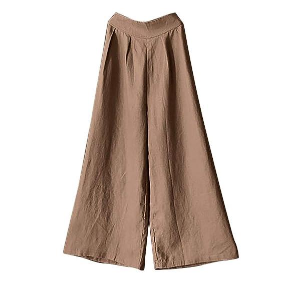 Luckycat Pantalones Harem de Lino Mujer Casual Suelto Pantalones Anchos Talla Grande Mujer Pantalon Botones sólidos de Las Mujer Pantalones Casual ...