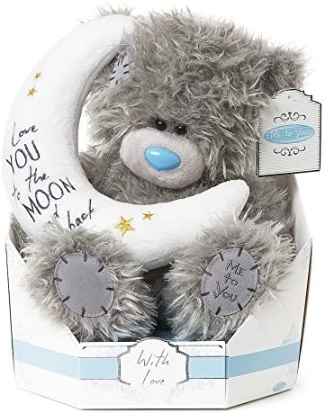 Me To You SG01W4100 Tatty Teddy Signature Collection Peluche de Osito con Luna, diseño con Texto en inglés Love You to The Moon and Back: Amazon.es: Juguetes y juegos