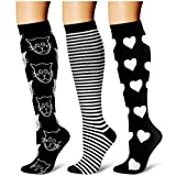 Compression Socks,(3 Pairs) Compression Sock Women & Men - Best Running, Athletic Sports, Crossfit, Flight Travel (Multti-colors20, Large/X-Large)