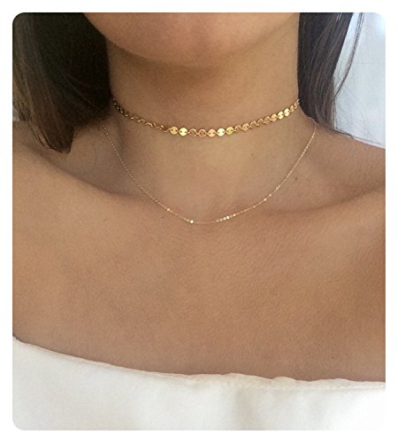 - Fremttly Womens Girls Simple Delicate 14K Gold Fill Bead Chain Round Wafer Chain Choker Layering Necklace-CK7-WO