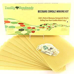 "Make Your Own Beeswax Candle Kit - Includes 10 Full Size 100% Beeswax Honeycomb Sheets in NATURAL and Approx. 6 Yards (18 Feet) of Cotton Wick. Each Beeswax Sheet Measures Approx. 8"" x 16 1/4""."