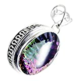 Jewelryonclick Oval Shaped Bezel Style Pendant Mystic Quartz Charms Sterling Silver Vintage Necklaces