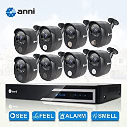 anni 16-Channel Security Camera System 1080N Digital Video Recorder and 8 x 1080p Wired Infrared Cameras, Built-in Gas Sensor Alarm, PIR Body Detection, Siren Sounds