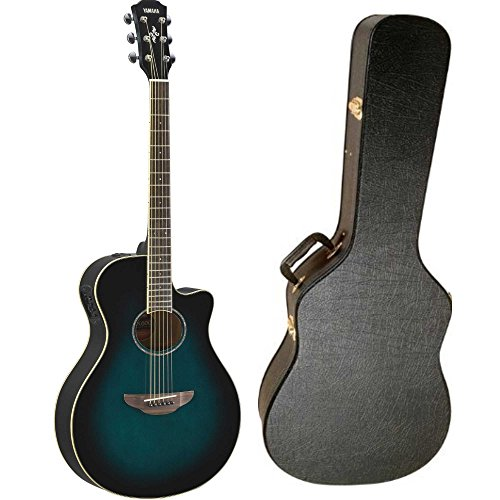 Yamaha APX600OBB Thinline Acoustic-Electric Guitar (Oriental Blue Burst) with Hardshell Guitar Case