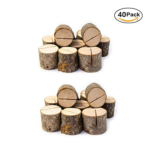 Rustic Wood Table Numbers Holder Wood Place Card Holder Party Wedding Table Name Card Holder Memo Note Card (40pcs)