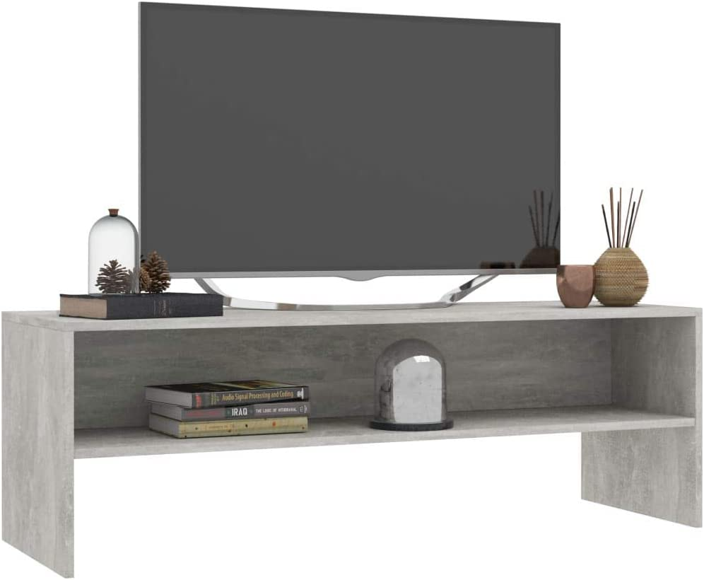 vidaXL TV Cabinet with Open Compartment Living Room Sideboard Lowboard HiFi Stand Unit Entertainment Centre High Gloss White 120x40x40cm Chipboard Concrete Grey