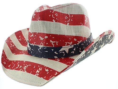 Skull With Cowboy Hat (Milani Vintage Stars & Stripes American Flag Cowboy Hat)