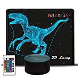 FULLOSUN Dinosaur 3D Night Light Jurassic Velociraptor Projection LED Lamp Baby Nursery Nightlight for Kids  Room Home Décor Xmas Birthday Gifts with 7 Color Changing