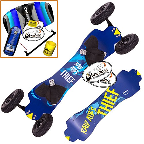 "HQ Raid Thief 9"" Kite ATB LandBoard & CXB Trainer Kite Bundle : (4 Items) Includes All Terrain Kite Land Board + CX 1.5M Control Bar Foil Kite + Windbone Kite Lifestlye Decals + WBK Key Chain"