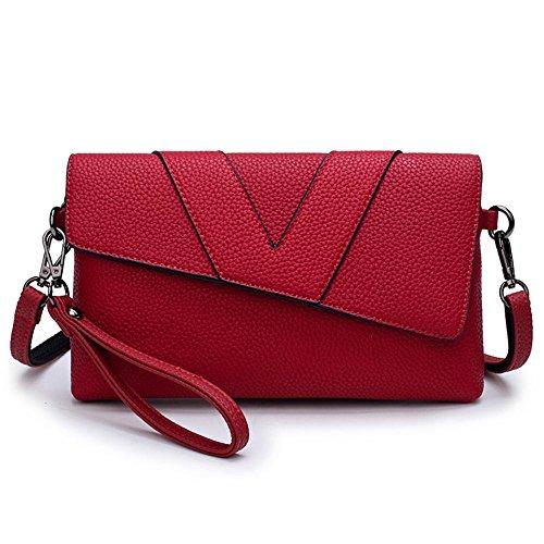 Aoligei Fille de fashion bag lady main main sac simple centaines enveloppe magnétique boucle d'épaule unique de poignet diagonale D