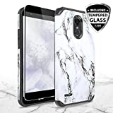 LG Stylo 3 Case, LG Stylo 3 Plus Case, with TJS [Full Coverage Tempered Glass Screen Protector] Ultra Thin Slim Hybrid Shockproof Drop Protection Impact Rugged Marble Case Armor Cover (White)