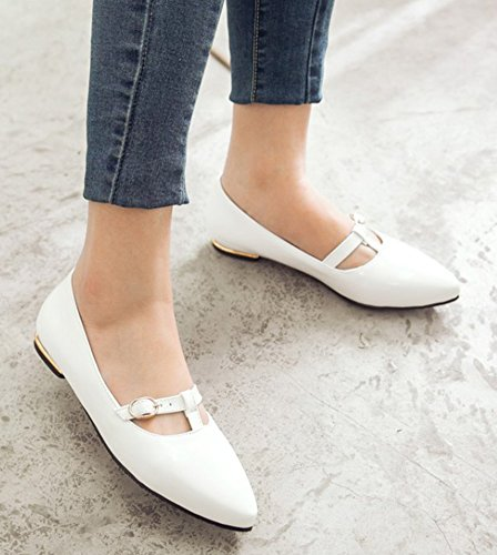 Aisun Womens Comfort Burnished Dressy Pointed Toe Low Cut Buckle Strap Chunky Low Heel Slip On Pumps Shoes White jdpd6lDC