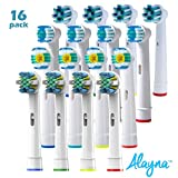 Oral B Replacement Brush Heads- 16 Oralb Braun Generic Electric Toothbrush Parts- 4 Floss Action, 4 Crossaction, 4 Pro / 3d White & 4 Precision Clean- Oral-b Compatible w/Pro 1000, 3000, 5000 & More