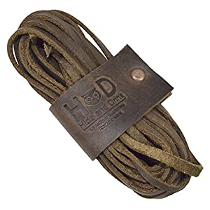 Hide & Drink Durable Thin Leather Laces For Work Boots & Dress Shoes Handmade by Bourbon Brown