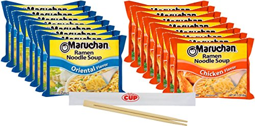 By The Cup Chop Stix and Soup Bundle - 2 Flavors 3 Ounce Single Serving Packs Maruchan Ramen Noodle Soup, 8 of each, Oriental and Chicken Flavor - (Pack of (Oriental Chicken)