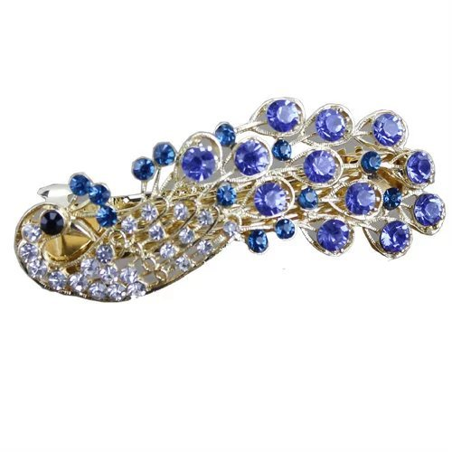 Price comparison product image EYX Formula Fashion Retro Peacock Full Crystal Hairpin Barrette Hair Clip for weeding party,Lovely DIY Colorful Rhinestones hairpin Clip Accessories for Ladies