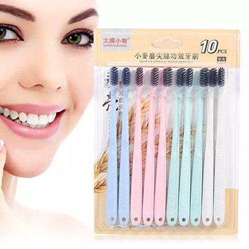 Elements Of Design Toothbrush - Wheat Straw Toothbrush, 10pcs Wheat Straw Toothbrush Bamboo Charcoal Soft Colorful Toothbrush Oral Health Care