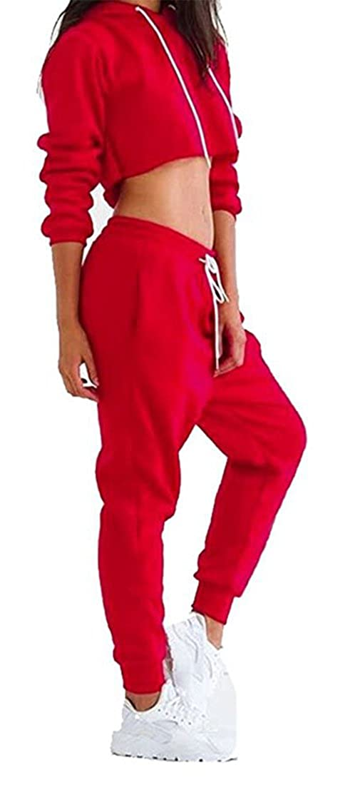 92479b7c9589 WorkTd Women's Crop Top Hoodie Pant 2 Pcs Sweatsuit Set Sports ...