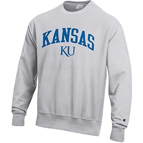 Elite Fan Shop Kansas Jayhawks Reverse Weave Crewneck Sweatshirt Gray - ()