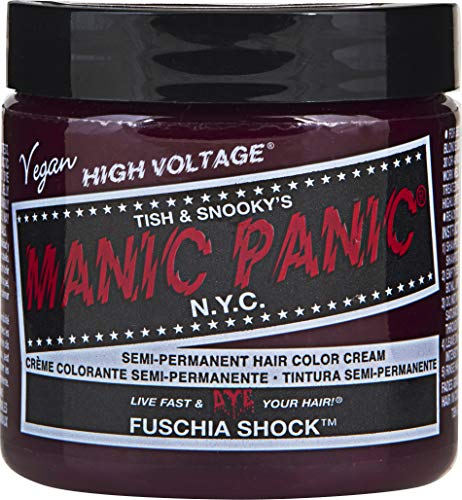 Manic Panic Fuchsia Shock Hair Color Cream – Classic High Voltage - Semi-Permanent Hair Dye - Vivid, Magenta Shade - For Dark, Light Hair – Vegan, PPD & Ammonia-Free - Ready-to-Use, No-Mix Coloring