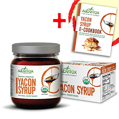 100% Pure Yacon Syrup - USDA Certified Organic Natural Sweetener - All-Natural Sugar Substitute - 8 Oz. Safe Glass Jar - Keto Vegan & Gluten Free - Free cookbook
