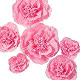 Ling's moment Paper Flowers Decorations, 6 X Pink