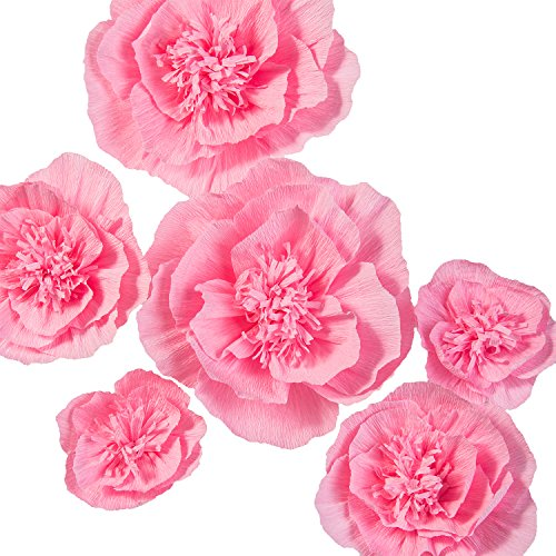 Lings moment Paper Flowers Decorations, 6 X Pink Crepe Paper Flowers, Large Paper Flowers for Nursery Wall Wedding Backdrop Party Bridal Party Archway, Christmas Decorations