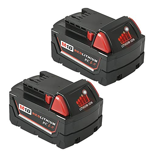 Mrupoo 18V 6000mah Lithium-Ion Replacement Battery with LED indicator for Milwaukee Cordless Power Tools M18B 48-11-10 48-11-1815 48-11-1820 48-11-1828 48-11-1840 48-11-1850(2 pack) by Mrupoo