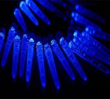 Rextin 20ft 30 LED Corn Solar String Lights Blue Waterproof Outdoor for Garden Patio Fence Path Landscape Wedding Party Christmas Decoration (Blue)