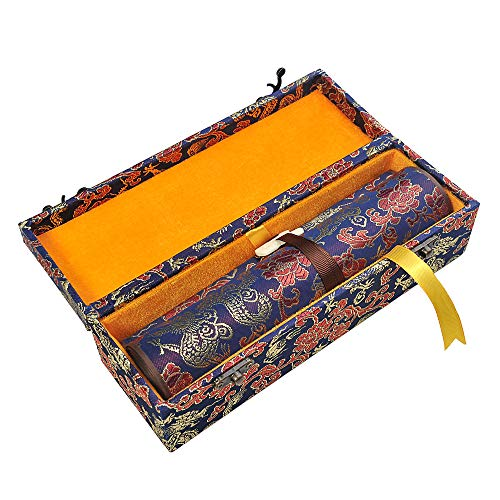 SJ023 Hmayart Blank Hand Scroll with Silk Brocade Box/Event Or Wedding Guest Book (22 x 330 cm/8.66 x 130 inch) (SJ023_lanlong)