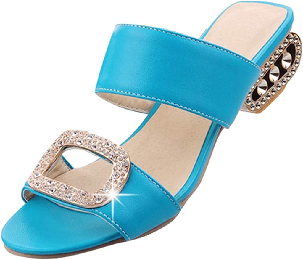 Sharemen Womens Fashion Leisure Water Crystal Fish Mouth Sandals Slippers Shoes