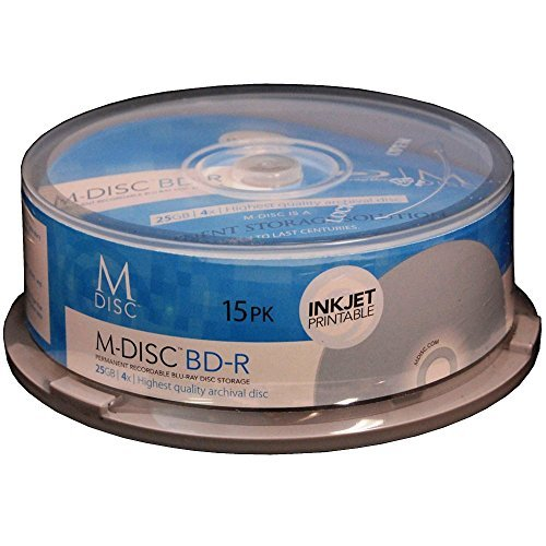 M-DISC 25GB Blu-ray White Inket Printable Permanent Data Archival / Backup Blank Disc Media - 15 Pack by Produplicator