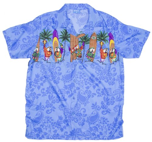 Ragstock Men's Surfboard Parrot Print Hawaiian Aloha Shirt, Blue X-Large (Parrot Board)