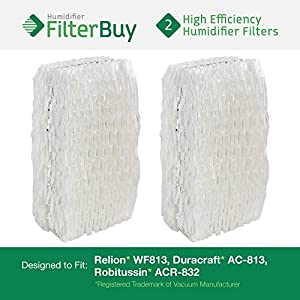 WF813 Relion Humidifier Wick Filters (Pack of 2). Fits Relion models RCM-832 and RCM-832N. Designed by FilterBuy in the USA.
