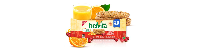 belVita Breakfast Biscuits, Cranberry Orange Flavor, 30 Packs (4 Biscuits Per Pack)