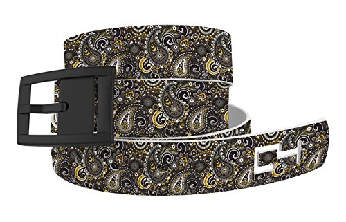 C4 Belts Paisley Black Belt with Black Buckle - Fashion Belt - Waist Belt for Men and Women -