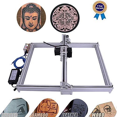 DIY CNC Laser Engraver Kits Wood Carving Engraving Cutting Machine Desktop Printer Logo Picture Marking, 40x50cm,2 Axis (2500MW)