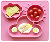 Ledsolver Food Grade Silicone Placemat and Silicone Spoon, Non-Slip Baby Training Plate, Good Suction Silicone Baby Dishes (Pink)